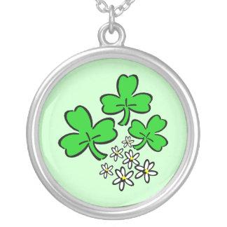 Lucky Shamrocks Round Pendant Necklace