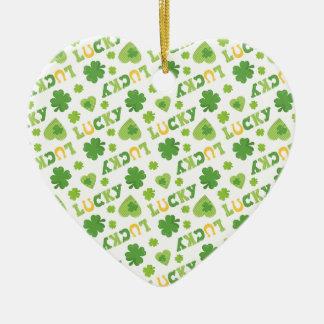 Lucky Shamrocks Ceramic Heart Ornament
