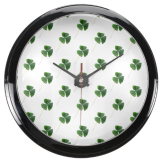 Lucky Shamrocks Pattern Aqua Clocks