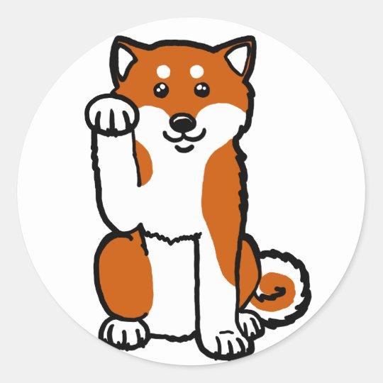 Lucky Shiba Classic Round Sticker