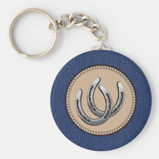 Lucky Silver Horseshoes Western style Keychains