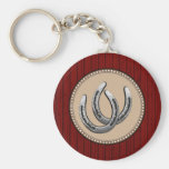 Lucky Silver Horseshoes Western Style Keychain