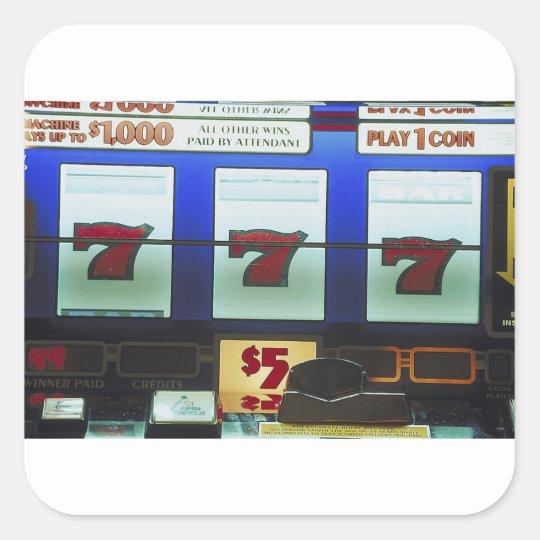Lucky Slot Machine Winner Square Sticker
