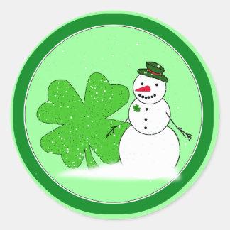 Lucky Snowman Classic Round Sticker