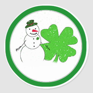 Lucky Snowman With Big 4-Leaf Clover Classic Round Sticker