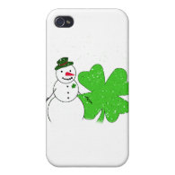 Lucky Snowman With Big 4-Leaf Clover Cases For iPhone 4