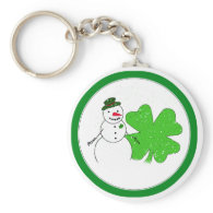 Lucky Snowman With Big 4-Leaf Clover Keychain