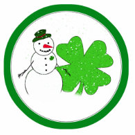 Lucky Snowman With Big 4-Leaf Clover Photo Sculptures