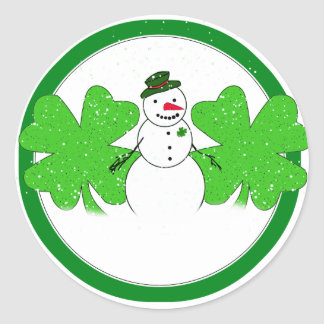 Lucky Snowman With Two  4-Leaf Clovers Classic Round Sticker