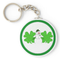Lucky Snowman With Two  4-Leaf Clovers Keychain