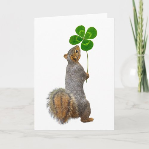 Lucky Squirrel with a Four Leaf Clover Card