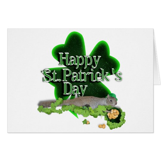 Lucky Squirrel With Big Shamrock Card