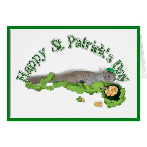 Lucky Squirrel With Pot Of Gold Greeting Card
