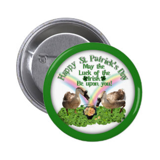 Lucky St. Patrick's Day Geese Pinback Button