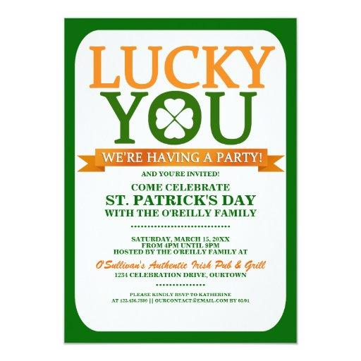 Lucky St. Patricks Day Party Invitations | Zazzle