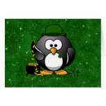 Lucky St Patrick's Day Penguin Greeting Card