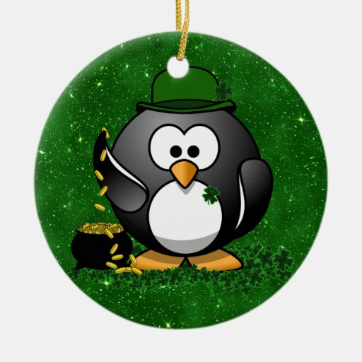 Lucky St Patrick's Day Penguin Double-Sided Ceramic Round Christmas Ornament
