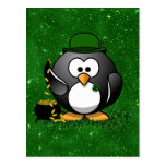 Lucky St Patrick's Day Penguin Post Card