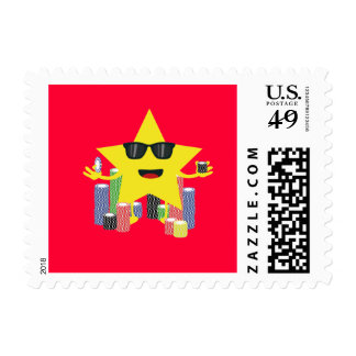 lucky star with poker chips postage