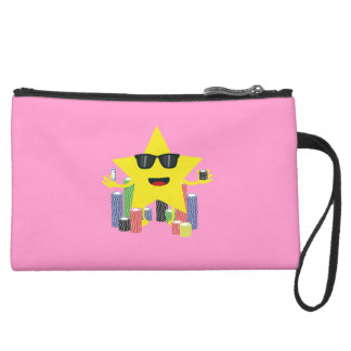 lucky star with poker chips suede wristlet wallet