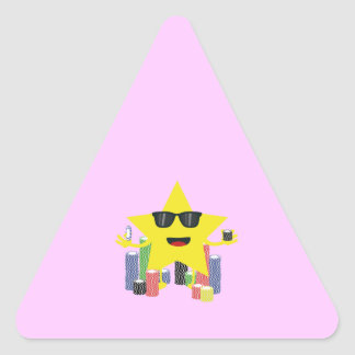 lucky star with poker chips triangle sticker