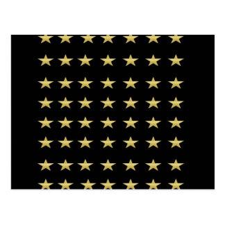 Lucky Stars Black With Gold Stars Design Postcard