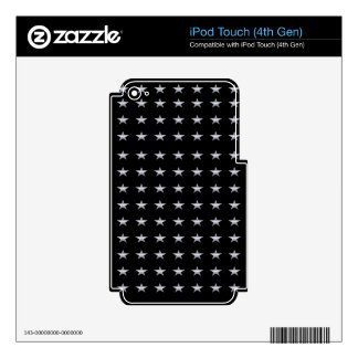 Lucky Stars Black With Silver Stars Design iPod Touch 4G Decals