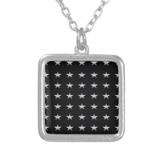 Lucky Stars Black With Silver Stars Design Silver Plated Necklace