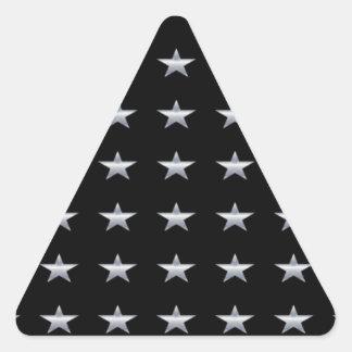 Lucky Stars Black With Silver Stars Design Triangle Sticker