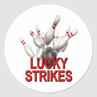 Lucky Strikes Bowling Classic Round Sticker