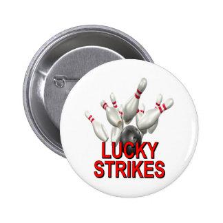 Lucky Strikes Bowling Pinback Button