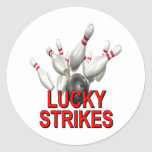 Lucky Strikes Bowling Round Stickers
