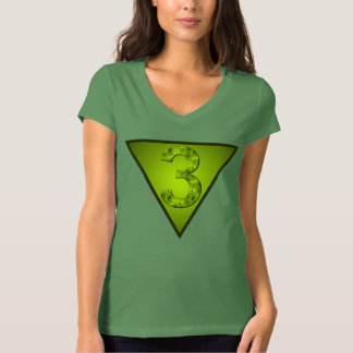 Lucky Three Magic Number Green Triangle Shirt