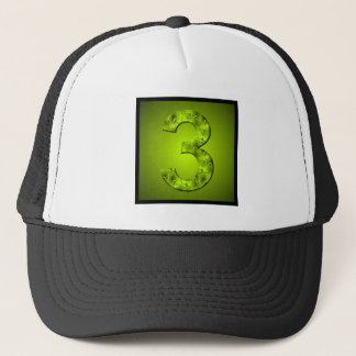 Lucky Three Nature Green Number Square Design Trucker Hat