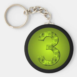 Lucky Three Number Nature Green Keychain