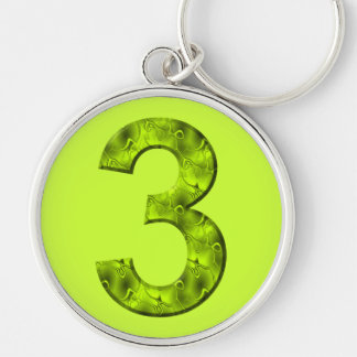 Lucky Three Number Organic Design Cheerful Green Keychain