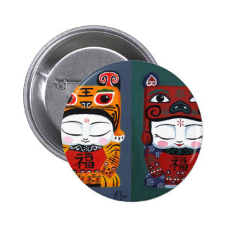 lucky tiger baby together 2 inch round button
