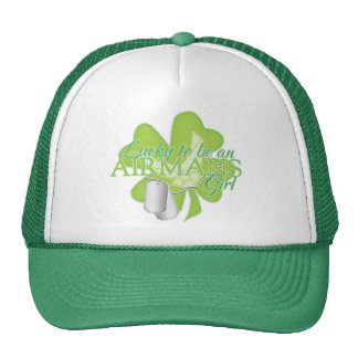 lucky to be an airmans girl trucker hat