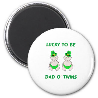 Lucky To Be Dad O' Twins 2 Inch Round Magnet