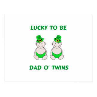 Lucky To Be Dad O' Twins Postcard