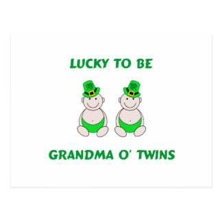 Lucky To Be Grandma O' Twins Postcard