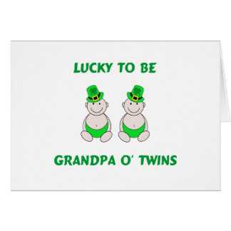 Lucky To Be Grandpa O' Twins Card