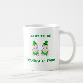 Lucky To Be Grandpa O' Twins Classic White Coffee Mug
