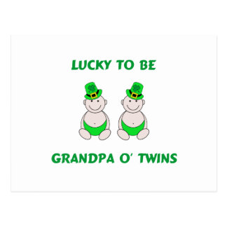 Lucky To Be Grandpa O' Twins Postcard