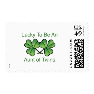 Lucky To Be Twin Aunt Postage Stamps