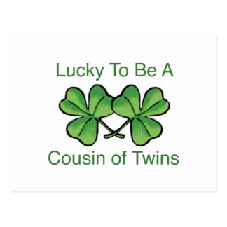 Lucky To Be Twin Cousin Postcard