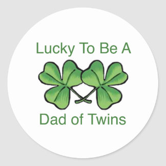 Lucky To Be Twin Dad Classic Round Sticker