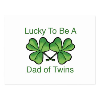 Lucky To Be Twin Dad Postcard