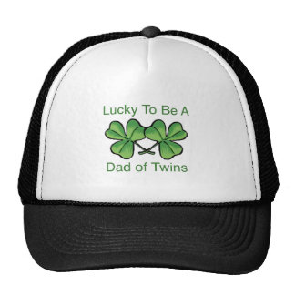 Lucky To Be Twin Dad Trucker Hat