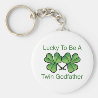 Lucky To Be Twin Godfather Keychain
